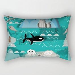 Arctic animals teal Rectangular Pillow