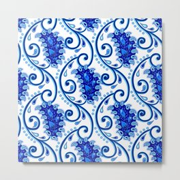Paisley Porcelain blue and white Metal Print