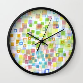 Raining Squares and Frames Wall Clock