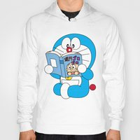 comic book Hoodies featuring Doraemon Reading Comic Book by Timeless-Id