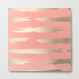 Simply Brushed Stripe in White Gold Sands on Salmon Pink Metal Print