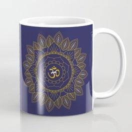 Om Symbol and Mandala in Spiritual Gold Purple Blue Violet Coffee Mug