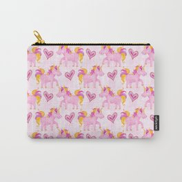 Watercolor Pink Unicorns Pattern Carry-All Pouch