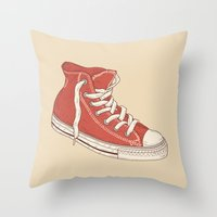 old school Throw Pillows featuring Old School by Terry Fan
