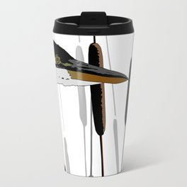 Great Blue Heron - White Background Travel Mug