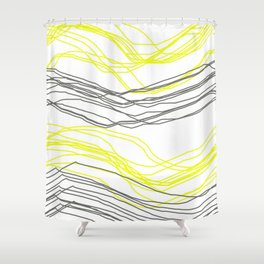 Yellow & Greay decor Shower Curtain