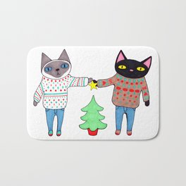 Cats in Sweaters Trimming the Christmas Tree Bath Mat