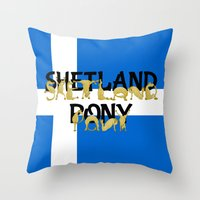 pony Throw Pillows featuring Shetland Pony by mailboxdisco