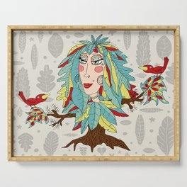 quirky bohemian boho tree, leaves and feather fantasy woman / girl Serving Tray