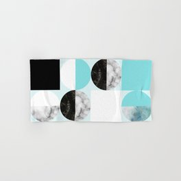 Mid Modern Moon and Sun Geometric Pattern - blue Hand & Bath Towel