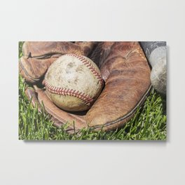 Vintage Baseball in Catcher's Mitt 1 Metal Print