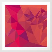 jazzberry Art Prints featuring Jazzberry Jam Red Abstract Low Polygon Background by patrimonio