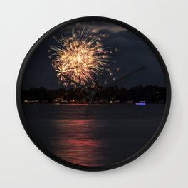 Fireworks Over Lake 10 Wall Clock