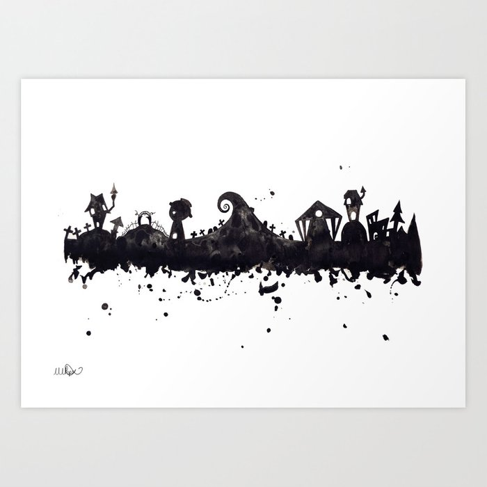 Tim Burton Nightmare Before Christmas Artwork.Halloween Town Nightmare Before Christmas Disney Tim Burton Inspired Watercolor Skyline Art Print By Tachapope