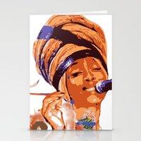 erykah badu Stationery Cards featuring Badu by DaeSyne Artworks