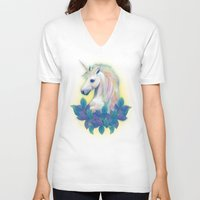 unicorn V-neck T-shirts featuring Unicorn by ShannonPosedenti
