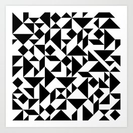 Tangram Composition in Black and White Art Print