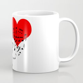 The Singing Heart. Black On White. Simple And Chic Conceptual Design Coffee Mug