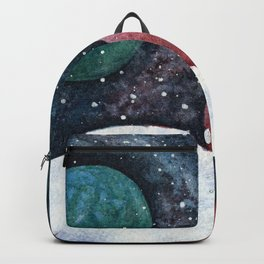 Journey through the cosmos. Alien planet watercolor Backpack