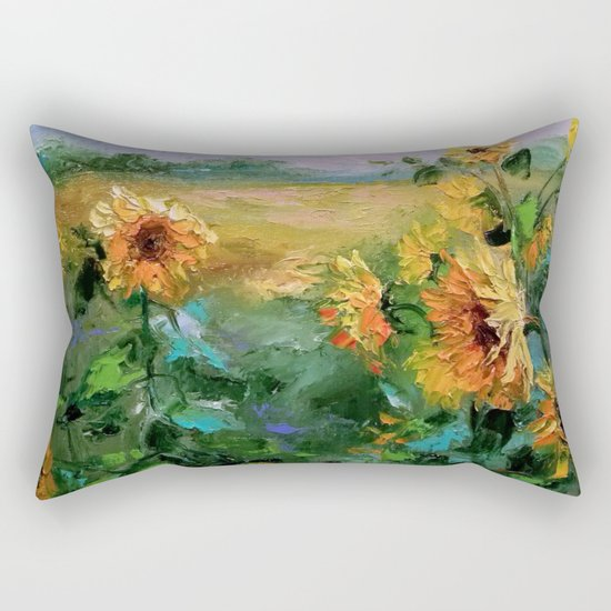 Sunflowers in the wind Rectangular Pillow
