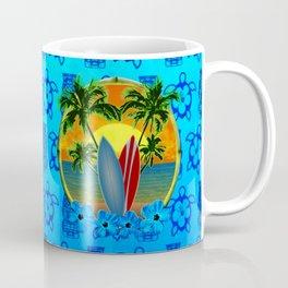 Sunset And Surfboards And Tikis Coffee Mug