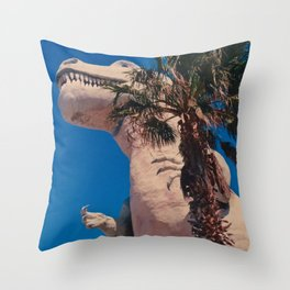 Palm Springs T Rex Throw Pillow
