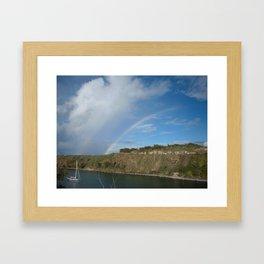 HONOLUA BAY DOUBLE RAINBOW Framed Art Print