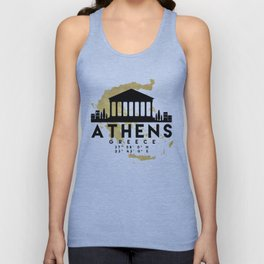ATHENS GREECE SILHOUETTE SKYLINE MAP ART Unisex Tank Top