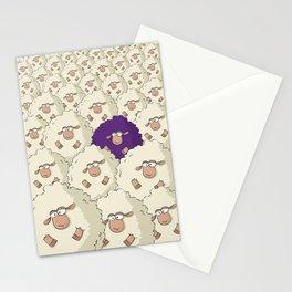 Sheep Pattern   Purple Stationery Cards
