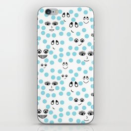 Dots and Smiles Blue iPhone Skin