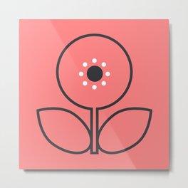 Flora in Grey Metal Print