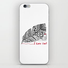 I Love You feather pen iPhone Skin