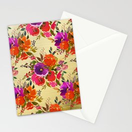 Vibrant Purple and Orange Flower Bouquets on Gold  Stationery Cards