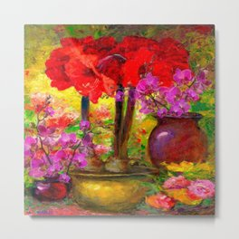 TROPICAL PINK ORCHIDS RED AMARYLLIS STILL LIFE PAINTING Metal Print