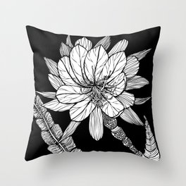 Orchid Cactus in Black and White Throw Pillow