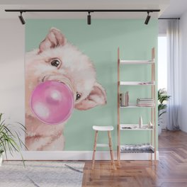 Bubble Gum Sneaky Baby Pig in Green Wall Mural