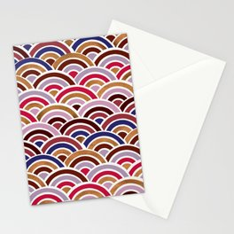 Japanese Seigaiha Wave – Mauve & Gold Palette Stationery Cards