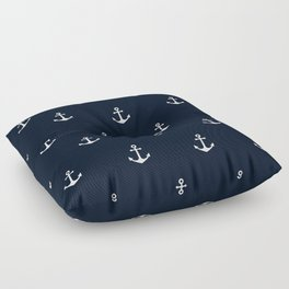 Dark Blue Anchor Pattern Floor Pillow