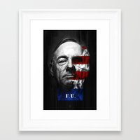 house of cards Framed Art Prints featuring House of Cards by offbeatzombie
