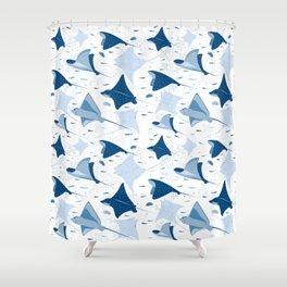 Blue stingrays // white background Shower Curtain