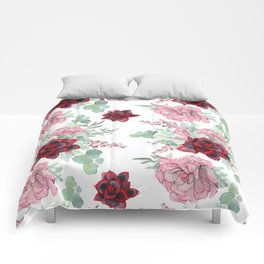 Succulents Pastel Red Pink Mint Green Pattern Comforters