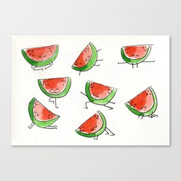 Watermelons doing yoga Canvas Print