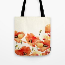Poppy Flower Meadow- Floral Summer lllustration Tote Bag