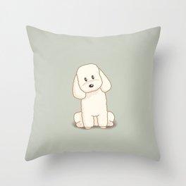 Toy Poodle Dog Illustration Throw Pillow