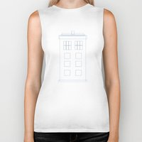 blueprint Biker Tanks featuring TARDIS Blueprint Pattern - Doctor Who by Corrie Jacobs