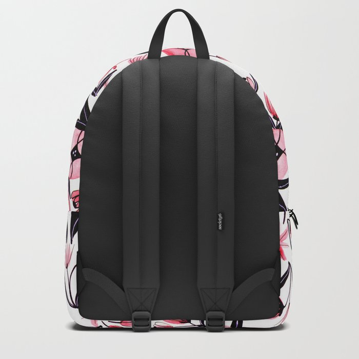 Black and Peach Flowers - Watercolor Pattern Backpack
