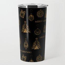 Christmas Golden pattern on black background. Travel Mug