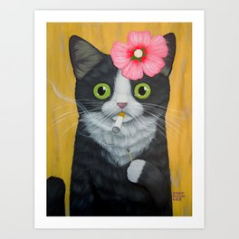 SMOKING KITTY Art Print