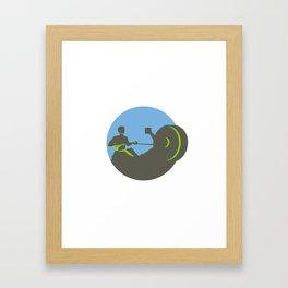 Rower Rowing Machine Circle Retro Framed Art Print