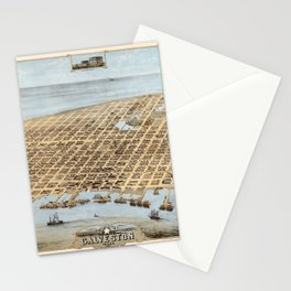Map Of Galveston 1871 Stationery Cards